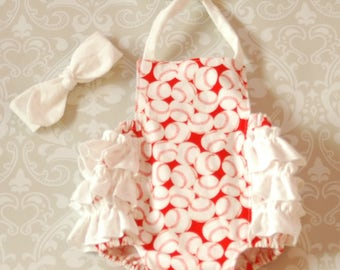 Baby Girl Clothing, Toddler Girl Clothing, Ruffled Romper Sun Suit with Matching Knot Headband - Red/White Baseball