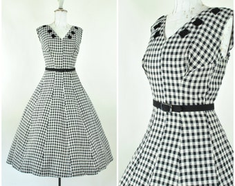 1950's black and white gingham party dress/ sz L  (B 38  W 32 ) Rockabilly, fit and flare / Vintage 50's cotton dress / checker and velvet