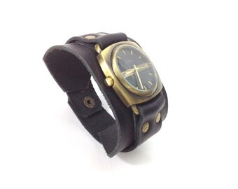 Leather watch, Black leather Watch, Handmade Leather Watch, Men's Watch, Women's Watch, Bronze Watch, Leather Watch Strap, Every day bag