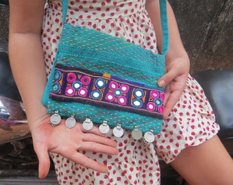 Turquoise Banjara Bag, unique, tribal, ethnic, gypsy, embroidery, mirrors, patchwork,  one-of-a-kind, hippy, vibrant colors, handbag