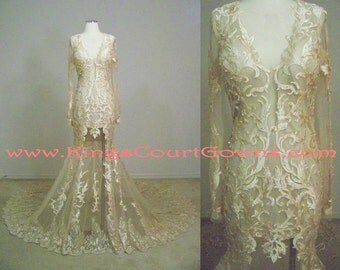 Replica Sexy Long Sleeve Champagne Lace Tulle Wedding Pageant Evening Dress Gown with Long Train Open Back and Beading