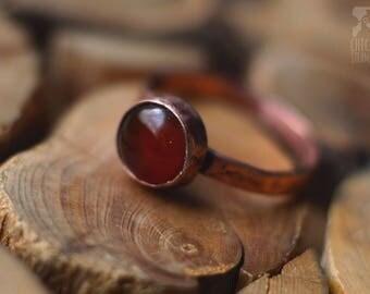 Copper ring with cornelian