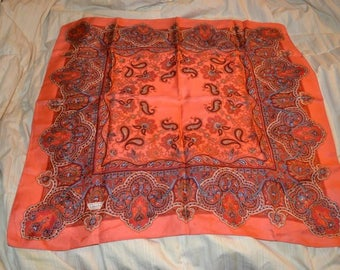 """Vintage Liberty of London Red Paisley Silk Square Scarf 23"""""""