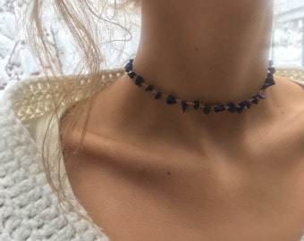 Lapis Gold Platted Wire Wrapped Adjustable Choker