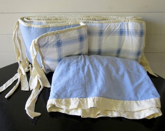 CRIB SKIRT and BUMPER - Blue, White, Yellow, Nursery Bedding, Plaid, Blue Nursery Decor, New Baby Room, Gingham Checker, Crib Bedding Set