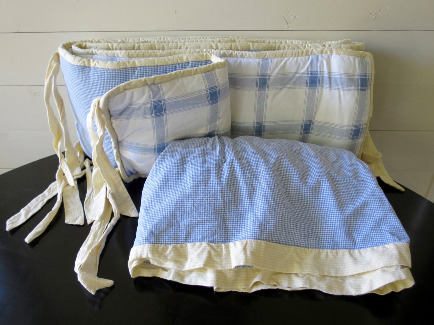 Crib Skirt And Bumper Blue White Yellow Nursery Bedding
