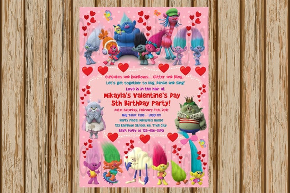Trolls Printable Valentine Invitations