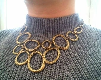 Bubble bib necklace brass colour statement metal necklace circle necklace UK