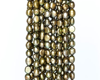 2185_Baroque pearls 9.5-11 mm, Green pearls, Natural pearls, Pearls baroque, Olive pearls for jewelry, Big pearls beads, Real large pearls.