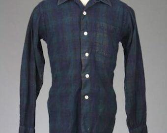 ON SALE Vtg 50s/60s Lochlana The Black Watch Green/Navy Plaid Wool Long Sleeve Shirt S