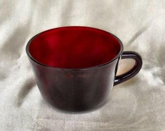 Set of 4 Hocking Royal Ruby Flat Cups circa 1940