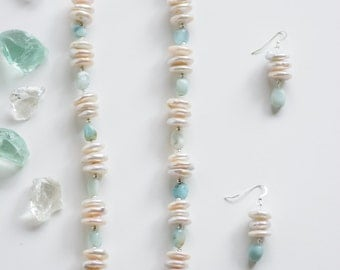 Freshwater Coin Pearl and Turquoise Necklace and Earrings