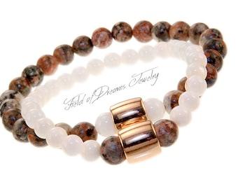 COMPANION MINERAL BRACELET Set Crystal Stone Bracelets Ivory Shell Crystal Beaded Gemstone Natural Semi-precious Bracelet Unisex Bracelets