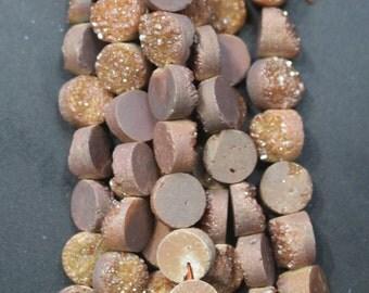 1 strand Druzy Beads, Druzy Quartz Beads,Yellow Round Drilled Druzy Beads,Cabochon Beads