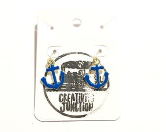 Anchor Earrings   Blue Anchor Earrings   Ocean Earrings   Nautical Earrings   Blue and Gold Earrings   Beach Earrings   Dangle Earrings