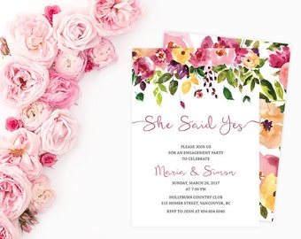 Floral Engagement Party Invitation, Printable Engagement Party Invitation, She Said Yes Invitation Digital, Watercolor Flowers Invite TFLW