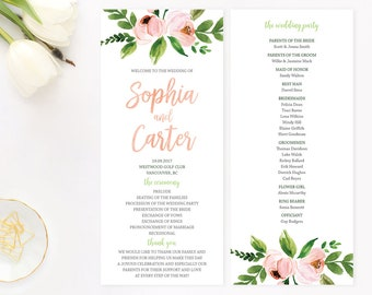 Peach Wedding Program, Printable Wedding Program, Floral Wedding Program, Wedding Program Cards, Rustic Wedding Program, Peach Stripes WTCW