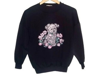 Vintage Dog Sweater Crew Neck sweatshirt Animal sweater 80s Color Navy Size Extra Small