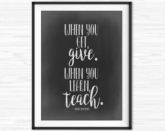 Chalkboard quotes office decor motivational print for Motivational quotes for office cubicle