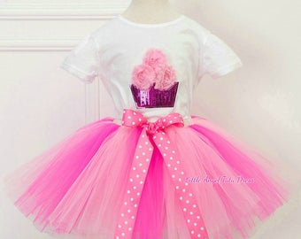 Pink Cupcake Birthday Outfit. Pink Tutu Skirt. Birthday Party. Cake Smash. Photo shoot Birthday Outfit. Cup cake Sparkly Set. Super Cute Set