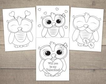 Valentine Coloring Pages, Valentine's Day Coloring, Valentine Owl, Printable Coloring Pages, Owl Coloring Printable - 4designs, Digital File