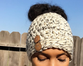 Ready to Ship!! // Messy bun beanie // Messy bun hat // cream //grey // gray // Bun beanie // bun hat