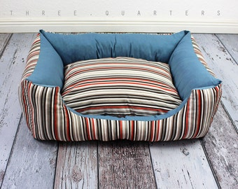 Dog bed, cat bed, stripes, blue, nostalgic, orange, white, vintage, country house, dog, cat, pet, sleeping, soft, striped