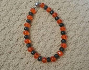 Black bracelet, orange bracelet, beaded bracelet, magnetic clasp, black and orange bracelet