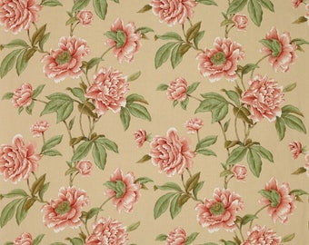 COLEFAX & FOWLER SHABBY Giselle Peonies Linen Fabric 10 Yards Red Beige
