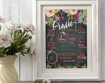 Boho Birthday Chalkboard Poster  - Baby Girl Birthday - First Birthday - 1st birthday - Rustic Rose Vintage Bohemian Floral - Digital File