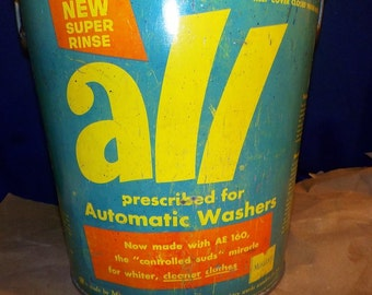 Vintage ALL Laundry Detergent Advertising Bucket 1956, Galvanized Steel Pail
