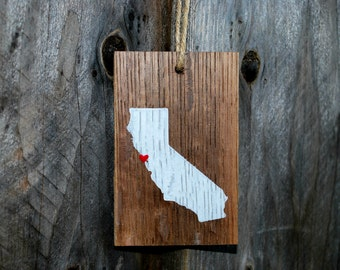 Reclaimed Rustic Wood California Ornament  // Custom // Holiday Decor // Rustic Christmas // Whimsical Christmas // State Love