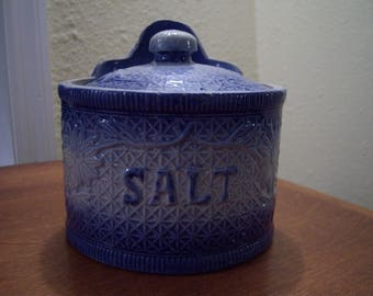 RESERVED for AMY,salt crock,earthenware crock,blue and gray,criss cross pattern,flowers,kitchen storage,primitive,farm house decor,rustic