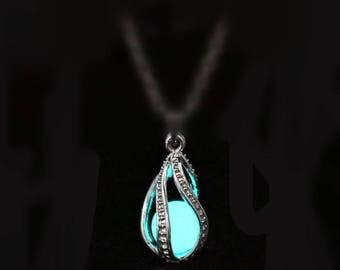 Aqua Glow in the Dark Tear Drop pendant, glow dragon egg pendant, Glowing Necklace pendant, mermaid tears