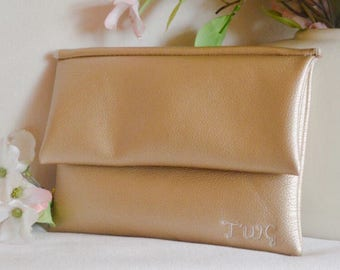 Gold bridesmaid clutch - personalized leather purse - gold monogrammed clutch - handbag - color block fold over clutch - bridal purse