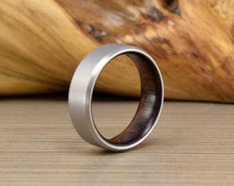 Titanium and Asian Ebony - Wood Men's Wedding Band - Wedding Ring - Men's Wedding Ring - Women's Ring - Men's Ring - Wedding Band
