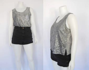 90s metallic tank top, vintage silver dot sleeveless top -- glitter top, sequin top, disco ball, oversized tank top, 1990s 90s clothing