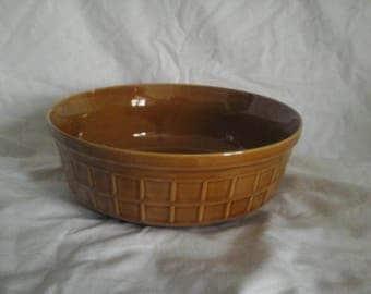 Vintage Brown Fruit Bowl, Pattern Relief