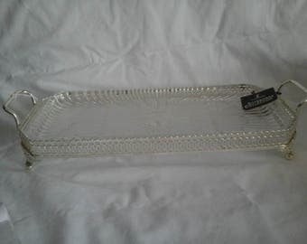 Vintage Tray a Glass Dish in a Silver Plated Holder with Handles by Allander Silverware