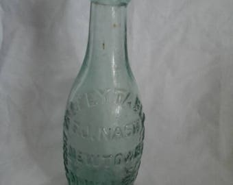 Vintage Green Glass Water Bottle, Made in Newtown, North Wales