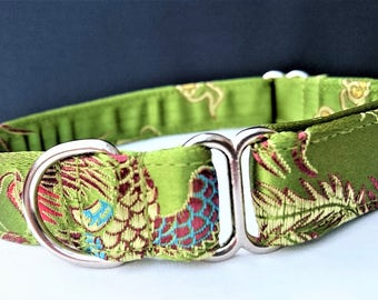 """Green Peacock Brocade """"No Buckle"""" Style Designer Dog Collar - can be made with a buckle on request"""