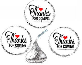 Thanks for Coming White Heart Party Favor Hershey Kisses Candy Stickers / Labels -216ct