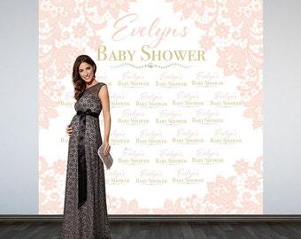 Vintage Lace Baby Shower Backdrop-Soft Pink Lace Photo Booth Backdrop- Welcome Baby Shower Backdrop
