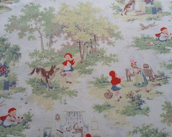 Vintage~Very Time Worn, Faded  Panel of Children's French Fabric ~Le Petit Chaperon Rouge~Little Red Riding Hood ~Patchwork~cushions~crafts