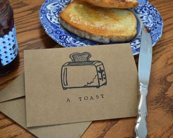 A Toast: Punny Blank Card- Hand Stamped