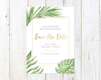 Destination Save the Date, Tropical Save the Date, Palm Leaves Save the Date