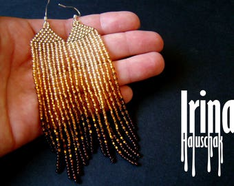 Gold gradient beaded earrings, seed bead earrings, bead earrings, gradient from light gold to dark gold, boho earrings, long earrings