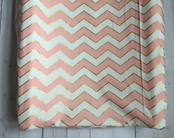 Pink, White, Gold Chevron Baby Bedding - Changing Pad Cover - Nursery - Pink & Gold Baby Bedding - Trendy - Chevron - Pink and White