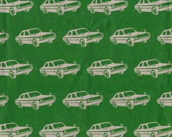 Echino Ni-Co Collection by Etsuko Furuya for KOKKA Japanese - Mini Car in Green - Cotton Linen Canvas