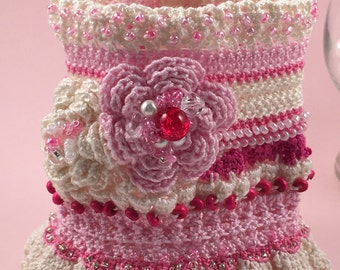 Pink and Ivory Freeform Crochet Cuff Bracelet